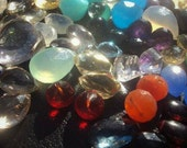 50% OFF SALE Super SURPRISE Sampler Gemstone Briolette Bead 10 Piece Set...Topaz, Quartz, Chalcedony, Opal, Chrysoprase, Onyx, Garnet, Amet
