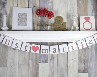 Just Married Sign Backdrop Wedding Decoration - Rustic Coral