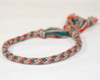 Kumihimo Bracelet Eco Friendly Bamboo Fiber Orange, Teal & Grey Jewelry