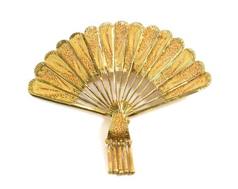 Vintage 14k Yellow Gold Fan Pin/Pendant