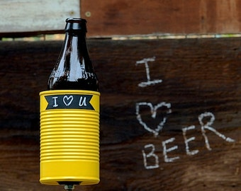 Chalkboard Hobo Tin Can Beer Holder/ Yellow Chalk Up Garden Drink Holder