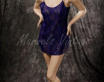 Vintage Victoria's Secret Lingerie Nightgown Purple Lace Semi Sheer Chemise Babydoll Size Medium