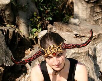 READY TO SHIP - headpiece headdress tiara gold red black larp cosplay elemental fire volcano lava faery renaissance burning man horns demon