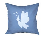 """18""""x18""""  Blue Pillow COVER with White Butterfly Silhouette"""