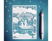 """Personalized Papercut - Star Explorer 5x7"""" Paper Cut Illustration - Add Your Name"""