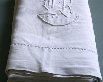 monogrammed linen sheet, MR monogram