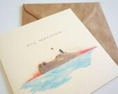 Valentine/ Love /Friendship Card - Oxpecker & Hippo