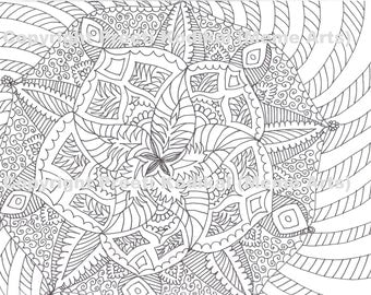 pen printable coloring page zentangle inspired henna or mehndi inspired indian designs like mandala abstract - Coloring Pages Abstract Designs