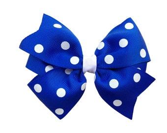 Blue polka dot hair bow - blue hair bow