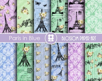 Paris Digital Paper, Eiffel Tower Paper Digital Pack, Blue Green Violet Vintage Scrapbooking - INSTANT DOWNLOAD  - 1816