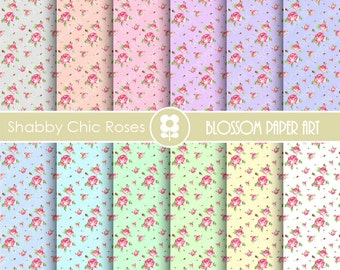 Shabby Chic Scrapbook Rose Digital Paper, Shabby Chic Cottage Digital Paper Wedding Scrapbook Paper Pack - INSTANT DOWNLOAD  - 1845