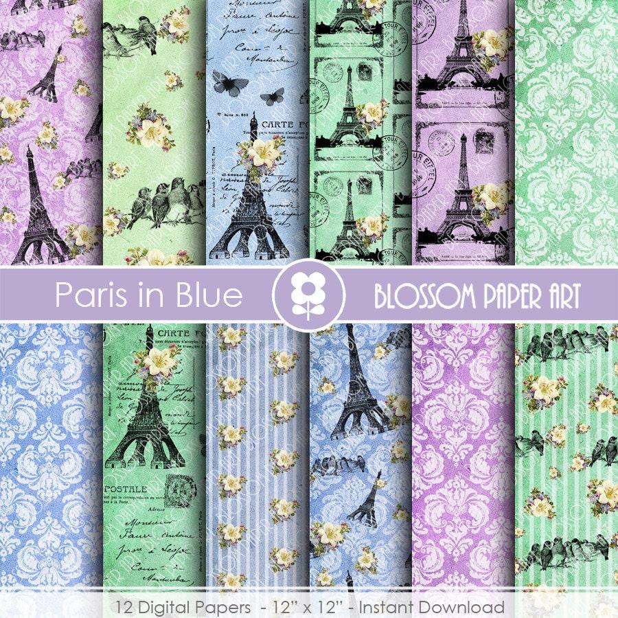 Scrapbook paper eiffel tower -  Eiffel Tower Paper Digital Pack Blue Green Violet Vintage Scrapbooking Zoom