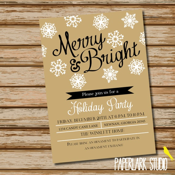 Merry & Bright /// Holiday Party Invitation /// Digital File