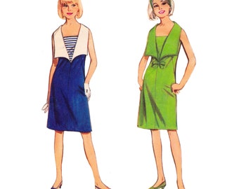 """1960s Mod Sleeveless A-Line Dress with Deep V Neckline and Large Spread Collar, Butterick 3577, Bust 31 1/2"""""""