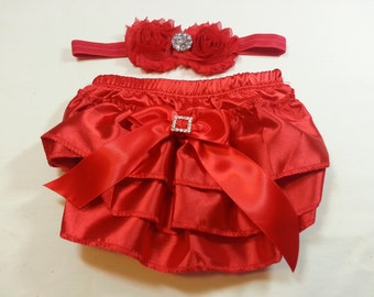 Red Valentine Diaper Cover/Headband Set, Red Ruffled Satin Baby Bloomers with Rhinestone Embellishment and Matching Red Headband. 3mos -3yrs