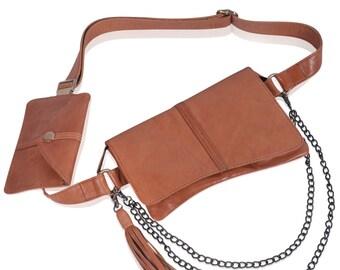 VOYAGER. Leather belt bag / festival belt bag / women belt bag / leather belt pouch / belt purse. Available in different leather colors.