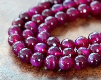 Faceted Dyed Agate Beads, Magenta, 8mm Round - 15 inch strand - eGR-AG0222-8