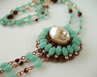 Long Necklace. Mint Green Flapper Jewelry. Assemblage Style Necklace. Romantic Jewelry