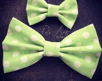 Pale Lime Green Polka Dot Linen Hair Bow - Monster