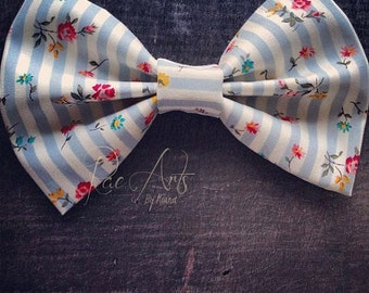 SALE!! Dainty Flower Blue Striped Bow - Monster