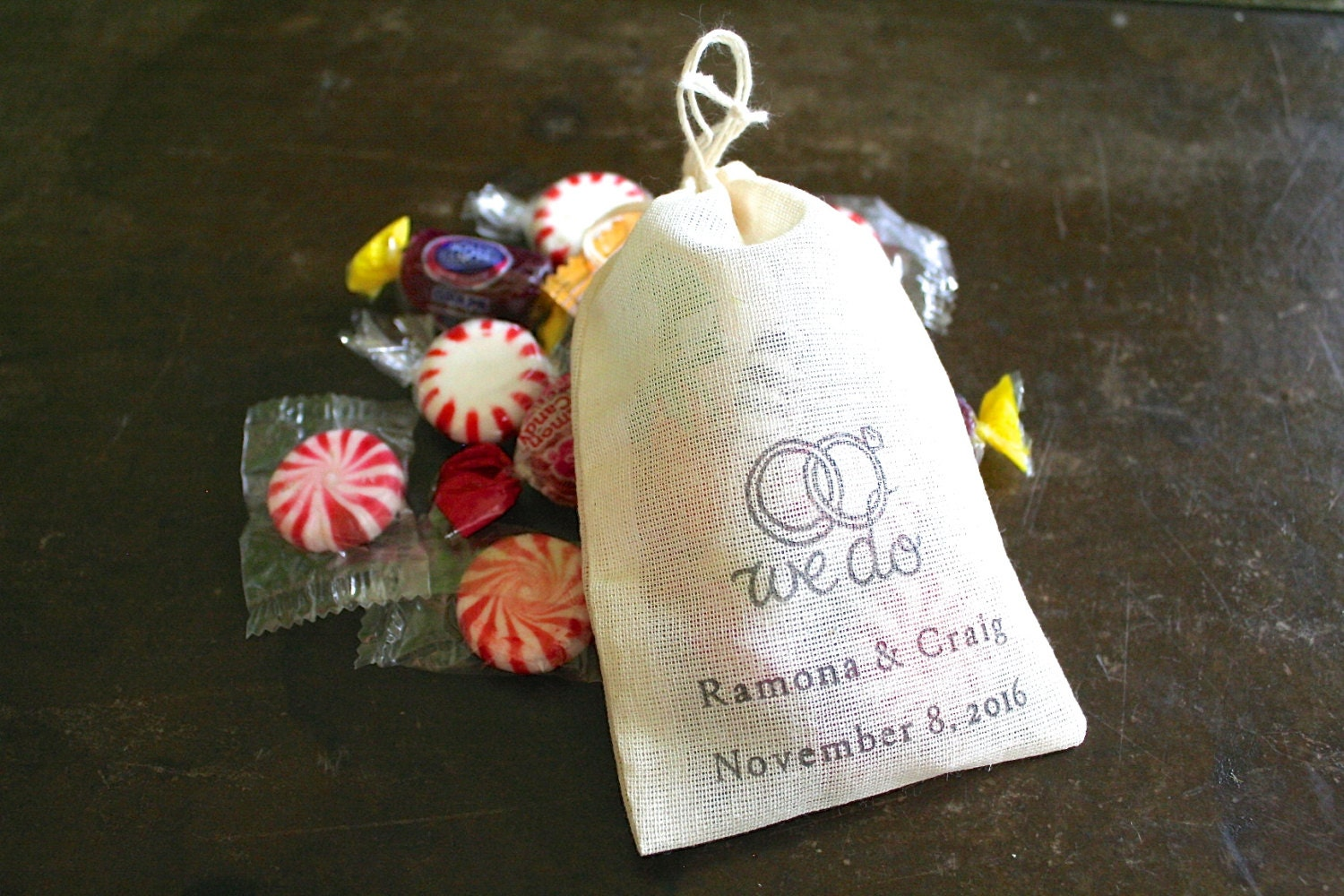 Personalized wedding favor bags 3x4.5. Set of 50 hand stamped