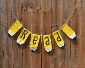Reading teacher gift Classroom Decor Pencil Garland Banner