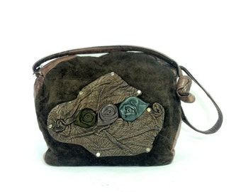 REDUCED~Floral Leather Bag - Brown Leather Purse with Roses - Leather Hobo - Hippie Bag - Boho Purse