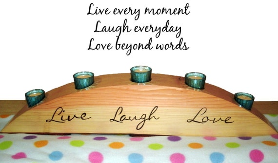Wood Candle Holder Live Laugh Love - Centerpiece Votive Holder - Woodburnt Extra Large
