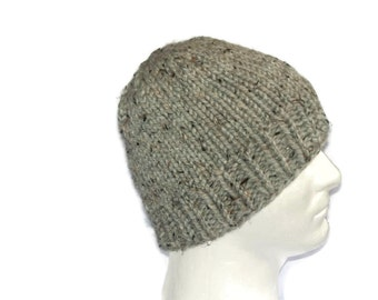 Warm Winter Beanie Hat, Grey Marble, Mens Hat