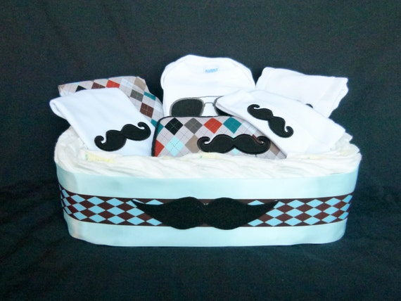 Little Man Mustache Diaper Gift Basket Baby Boy Gift Set Newborn Baby Boy Gift Set