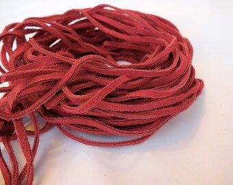 "16 Leather Strips of 35"" Suede leather Lace, Red Leather Lacing,"