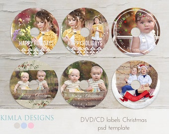 Christmas CD DVD labels psd templates, WHCC