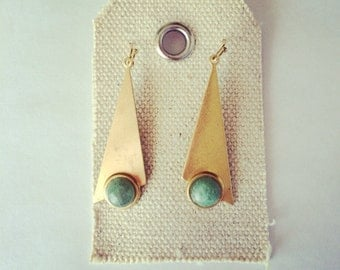 Triangle gold earrings- triangle dangle gold earrings- aventurine stone earrings - hippie earrings- gold earrings
