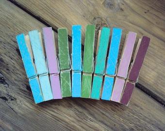 Distressed Wood Clothespins - Set of 10 Bohemian Photo Holders - Shabby Boho Decor - Colorful Decorative Clothes Pins - Boho Dorm Decoration