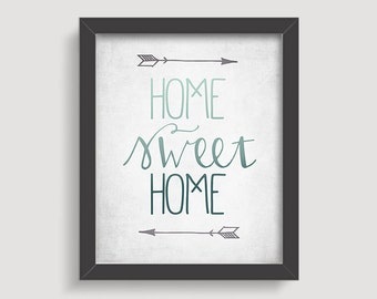 Home Sweet Home Typography Print, Boho Rustic Ombre Art Print, Teal Blue, Arrows, New Home Housewarming Gift, New Home Decor