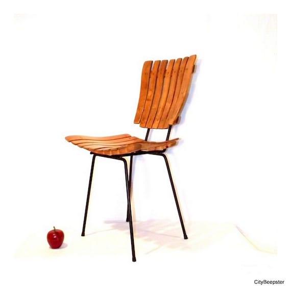 Mid Century Chair Wood Slat Metal Frame Minimalist