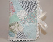 Embroidered Needle Book - White lace flower on patchwork