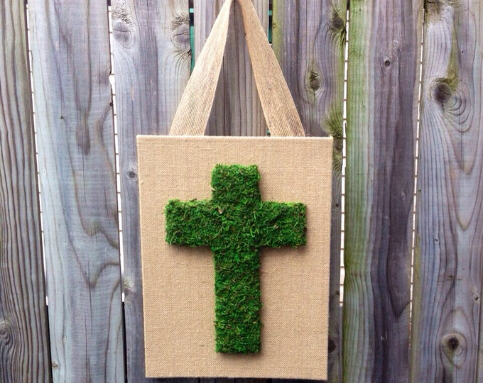 Moss covered Cross READY TO SHIP Easter Decor