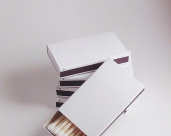 50 Plain White Cover Wooden Matchbox Matches/Matches/Matchboxes/Match Boxes