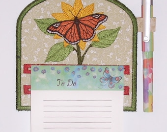 Monarch Butterfly Magnetic Embroidered Notepad Holder