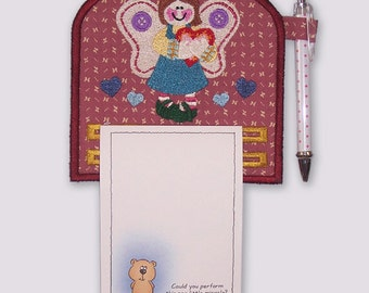 Cute Happy Country Angel Magnetic Notepad Holder