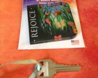 Rejoice acrylic magnet, The Vanessa, butterflies, grass