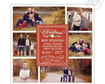 Christmas Mini Session Template, Photography Marketing Templates, Marketing Board, Advertisement Template, Photoshop Templates - AD154