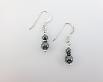 Hematite 4 and 6 mm Stacked Earrings on Sterling Silver