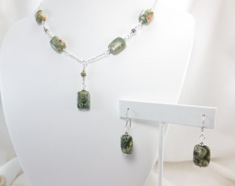 Rain Forest Jasper - Necklace & Earrings - Small Rectangle Set - Sterling Silver - Gold Fill