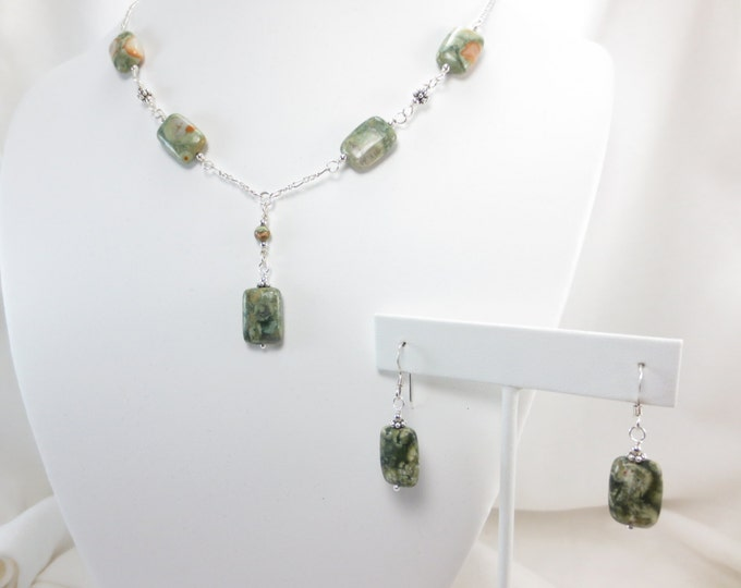 Small Rain Forest Jasper Rectangle Necklace & Earrings Set on Sterling Silver or 14k Gold Fill