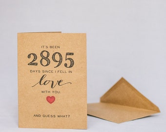 Love Card: How Many Days I've Loved You // Recycled Love Card // Love Card // I Love You Card // Anniversary Card