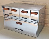 Retro Speko Products Large Chrome Top Labeled Counter Storage Bread Box Canister Drawers Flour Coffee Sugar Tea Mod Mid-Century Chicago