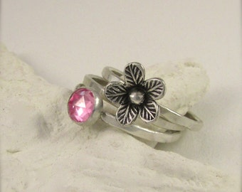 Pink Sapphire and silver flower stacking ring set - Stacking ring set - Sapphire Ring Set - Pink Sapphire Ring Set - Sapphire Stack Ring Set
