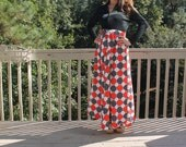 Vintage 70s Red, Black and White Maxi Dress by Concept 70s for Swirl